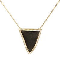Shark Tooth White Diamond Pave Necklace
