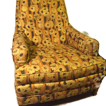 Vintage Floral Lounge Chair by Heritage Furniture Co.
