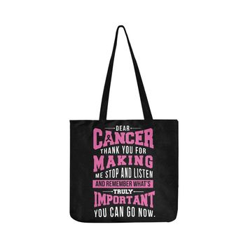 Cancer Making Important Breast Cancer Awareness Pink Ribbon Reusable/Water Resistant Shopping Bags (8 colors)
