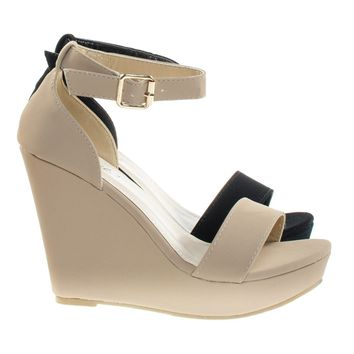 Paige1 By Bonnibel Classic Open Toe Platform Wedge Sandal w Ankle Strap & Heel Counter