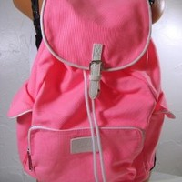 Victoria's Secret PINK Backpack White Trim Neon Canvas School Handbag Backpack Book Bag Tote-Sold Out