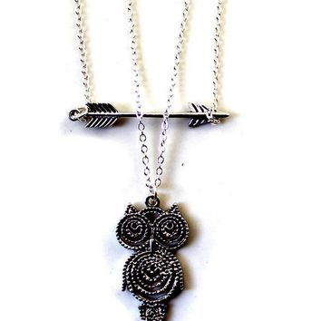 Cutout Vintage Owl Pendant Necklace
