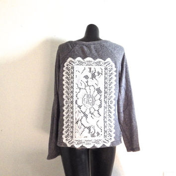Upcycled Grey Bohemian Lace Doily Sweater