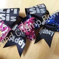 Big Sis/Lil Sis Matching Cheer Cheerleader 3 inch Texas sized customized personalized Hair Bows Hairbows with Sequins
