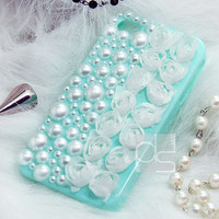 iPhone 4 Bling Case iPhone 4S Bling Case iPhone 5 Bling Case For iPhone 5S Bling Case iPhone 5C Bling Case White Lace Rose Rhinestone LPH