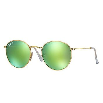 Ray Ban Round Sunglass Matte Gold Green Polarized Mirrored Rb 3447 112/p9 | Best Deal Online