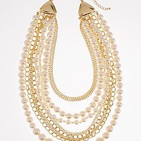Gold Multi (GLMU) Pearl And Chain Necklace