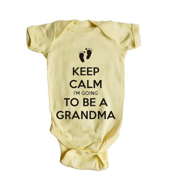 Keep Calm I'm Going To Be A Grandma Baby Onesuit