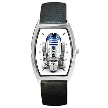 """Star Wars """" R2D2 """" on a Barrel Watch with Leather Band"""