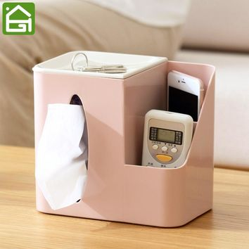 Premium Quality Thickness Napkin Holder Remote Control Plastic Storage Box Home Office Desk Tissue Organizer Case