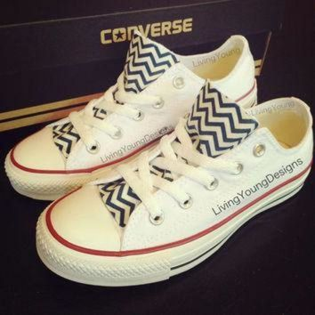 CREYUG7 Chevron Custom Converse Navy Blue White by LivingYoungDesigns