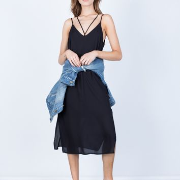 Strappy V-Neck Midi Dress