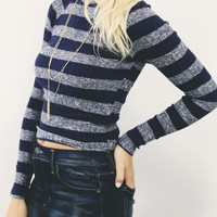 Mountain View Navy Striped Sweater Crop
