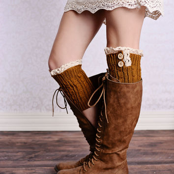 Lace Trim 2 Button Cable Knit Boot Cuffs Ginger Ankle Socks