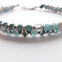 Skinny Beaded Anklet, Turquoise Mix and Silver, Turquoise leather, Dragonfly charm
