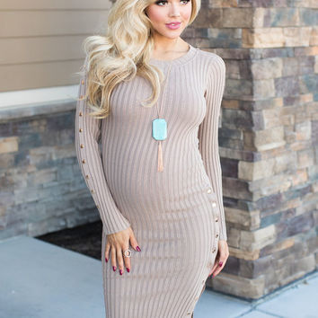 One Sided Snap Button Knit Dress Taupe