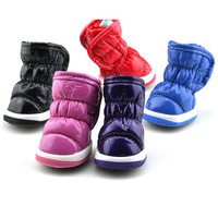 Small Dogs Winter Pleated Soft Leather Pet Waterproof Snow Boots Shoes XS-XLFree&Drop Shipping