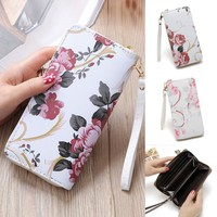 Pink Flowers Phone Holder Clutch