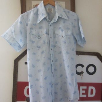 60s/70s H Bar C Pale Blue Floral Short Sleeve Western Shirt, Men's M-L // Vintage Cowboy Shirt