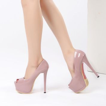 Fashion Online 2017 Women Fashion Heel Concise Shallow Mouth Shoes Peep Toe Thin Heels Shoes Pumps Wedding Party Super High 14cm Shoes Xa-07