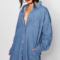 Lauren Mid Blue Denim Shirt Dress | Boohoo