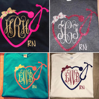 Monogram Heart Stethoscope Tee, Monogram Stethoscope t-shirt, Monogram Nurse Tee, Monogram Nurse T-Shirt, registered nurse tee