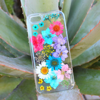 Hand Selected Natural Dried Pressed Flowers Handmade on iPhone 4 4S 5 5S 5C Crystal Clear Case: Colorful Mix Flower Design