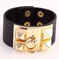 Hermes Inspired Leather Cuff White or Orange with Gold Color Buckle with Spike Studs