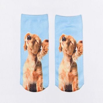 One Pair 3D Print Cute Animal Cotton Spinning Fashion Socks for men and women