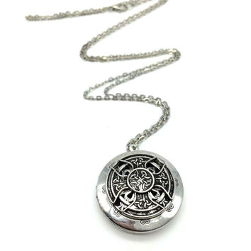 Antique Silver Finish Celtic Cross Essential Oil Diffuser Necklace