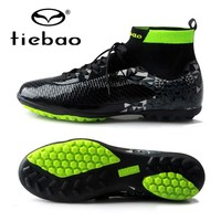 TIEBAO 2018 New Professional Soccer Football Shoes Mens Sneakers Indoor TF Turf Non-slip Ankle high Soccer Cleats Adults Boots