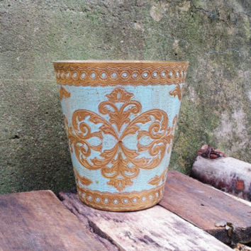 Florentine Round Gold Leaf Painted Waste Basket Pastel Blue Wastebasket