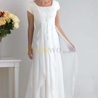 [US$200.99] White Chiffon Pleated Cap Sleeve with Empire Bodice and Floor Length Straps Skirt Bridesmaid Dress