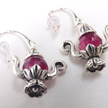 Tea Pot  Earrings  ,teapot earrings,dangle , teapot charms, antique silver earrings,faceted  agate beads, magenta pink color ,handmade