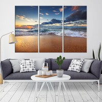 86988 - Seashore with the Small Waves Wall Art Large Canvas Print