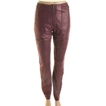 Catherine Malandrino Womens Shimmer Cargo Leather Pants