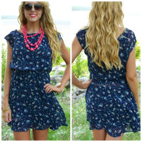 Petal Pop Navy Chiffon Floral Print Dress