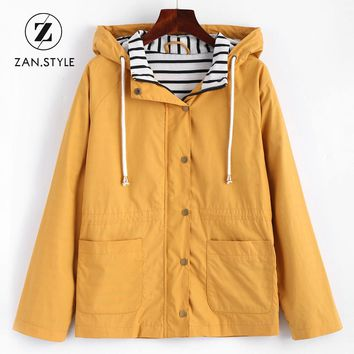 ZAN.STYLE Winter Warm Women Snap Button Stripes Panel Hooded Jacket Coat Pocket Patched Drawstring Basic Outwear Jacket Yellow