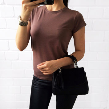 2016 Sale 18 Color S-3XL Plain T Shirt Women Cotton Solid Basic Tshirt Woman Tops Basic Short Sleeve T-shirt Femme 002