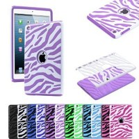 Pandamimi ULAK Dual Layer Hybrid Hard Case and Silicon Case Cover for Apple iPad mini (White and Purple)
