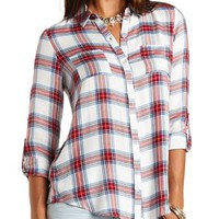 Flyaway Plaid Flannel Button-Up Top by Charlotte Russe - Ivory Combo