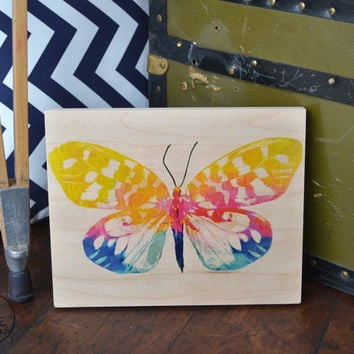 Watercolor butterfly on maple wood block, christmas, birthday, anniversary, graduation gift