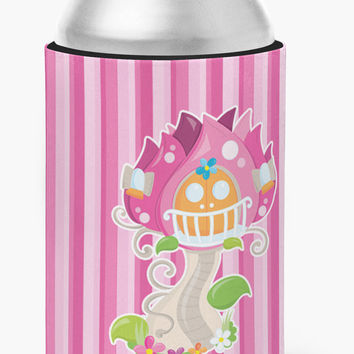 Fairy House Pink Stripes Can or Bottle Hugger BB6907CC