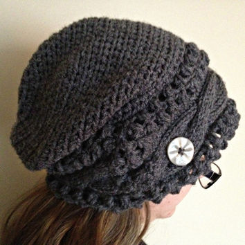 MADE TO ORDER, slouchy beanie, cable knit beanie, crochet beanie, slouch hat, knit slouchy hat, button decoration, slouchie beanie, gray hat