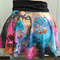 Galaxy in the garden mini skater skirt Space geek floral lycra