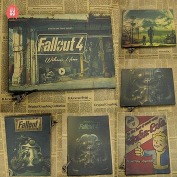 Vintage Fallout 3 4 Game Poster Bar Kids Room Home Decor Game Drawing Retro Kraft Paper Wall Sticker Decoration Wall Decals