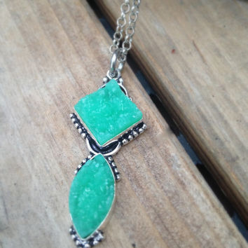 Turquoise Druzy Agate Pendant Necklace Drusy Druzy Agate in Silver