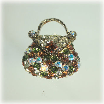 Rhinestone Pin, Purse Pin Brooch, Fashion Brooch, AB Rhinestone Pin, Handbag Brooch, Amber Aurora Borealis, Dainty Brooch