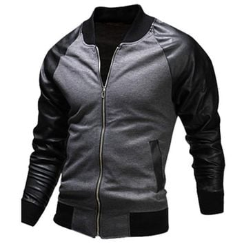 New Black Bomber Jacket Men 2016 Fashion Design Pu Leather Sleeve Mens Slim Baseball Jacket Casual Brand College Varsity Jakcet