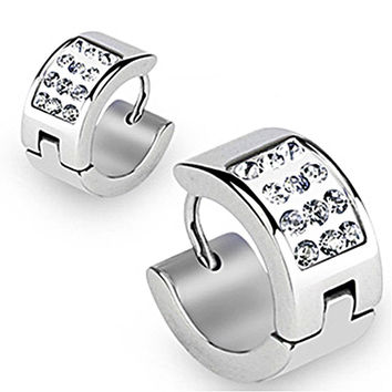 Spikes 316L Surgical Stainless Steel Hoop Earring Clear CZs